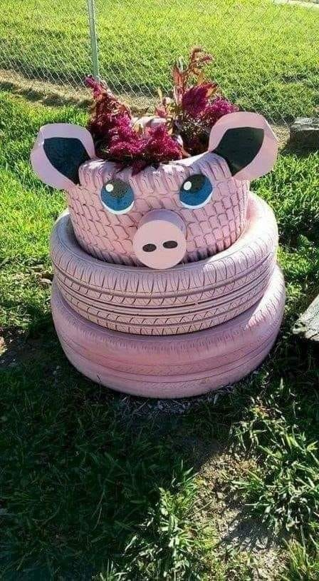 TIRES DIY PINK PIG